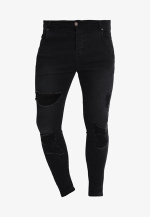 DISTRESSED SUPER - Vaqueros pitillo - black