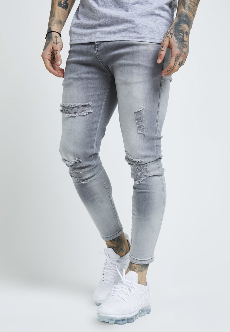 SIKSILK - DISTRESSED SUPER - Vaqueros pitillo - washed grey