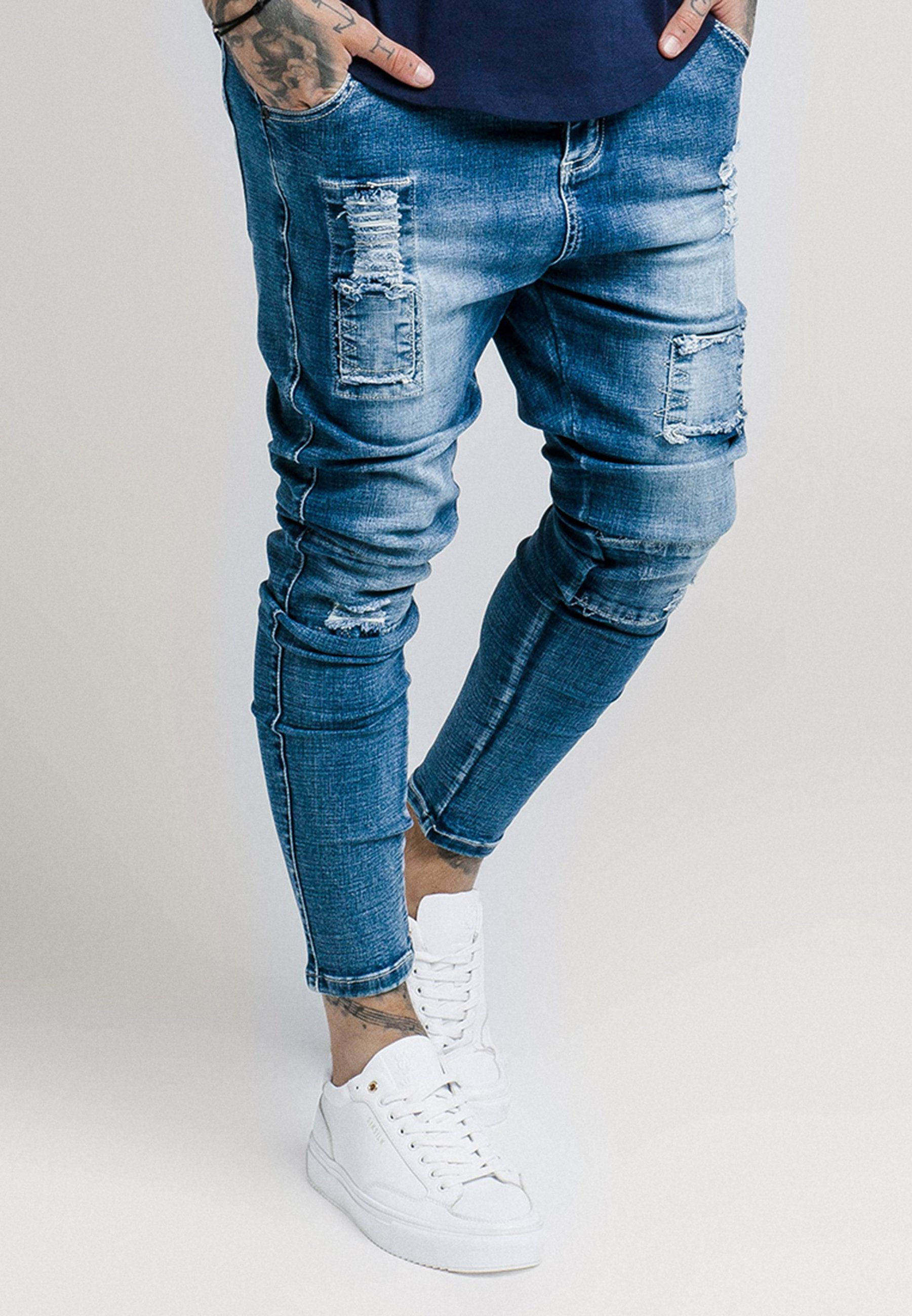 SIKSILK PATCHWORK - Jeansy Skinny Fit - washed blue