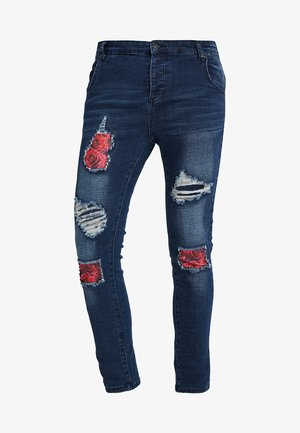 BUST KNEE - Jeans Skinny Fit - dark blue/red roses