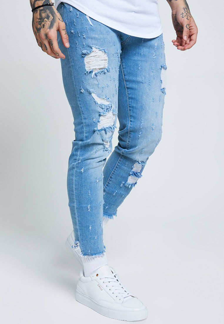SIKSILK RAW CUFF CROPPED - Jeansy Skinny Fit - blue