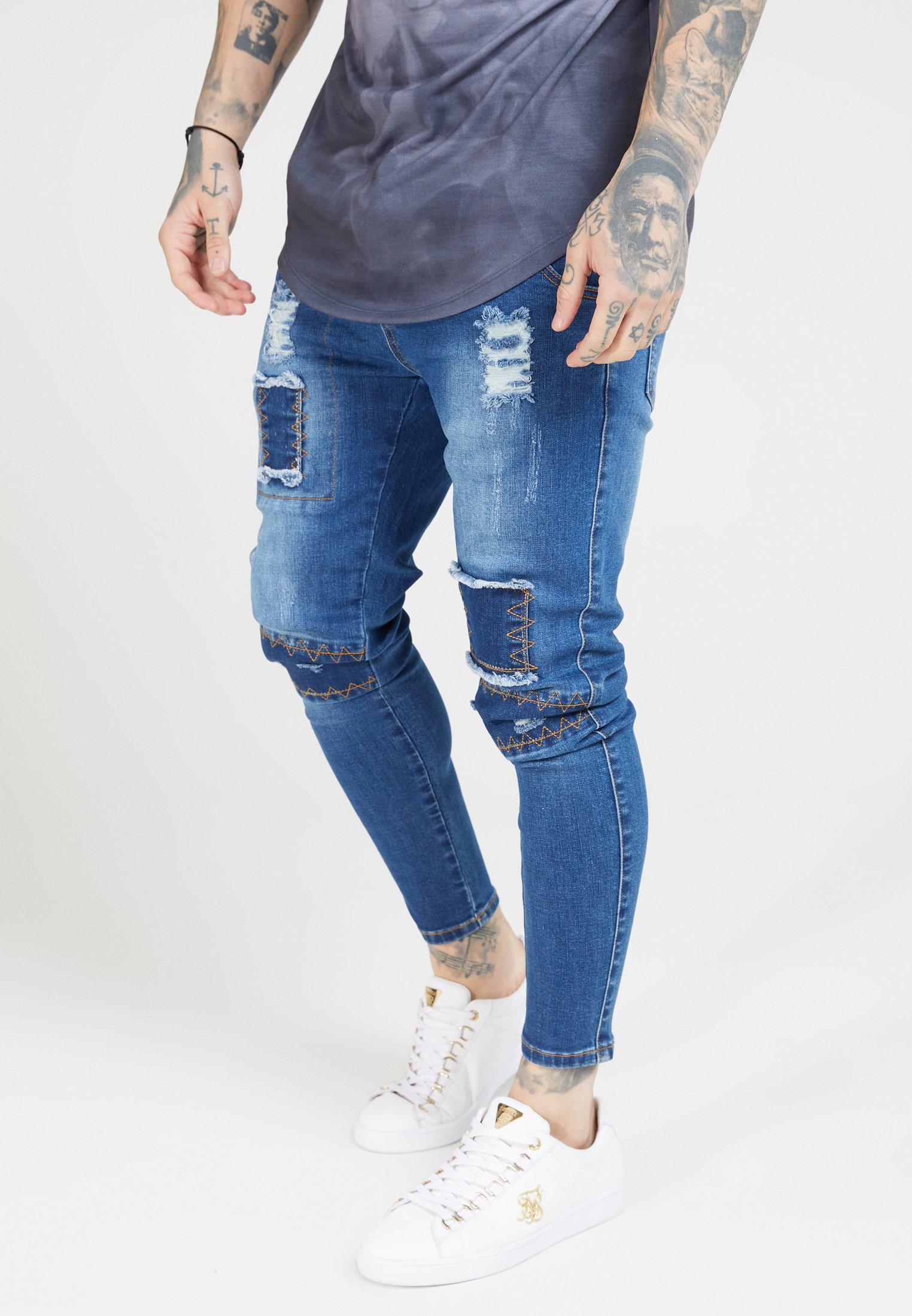 Washed Blue Fit Siksilk Skinny PatchJeans uKc1lF5TJ3