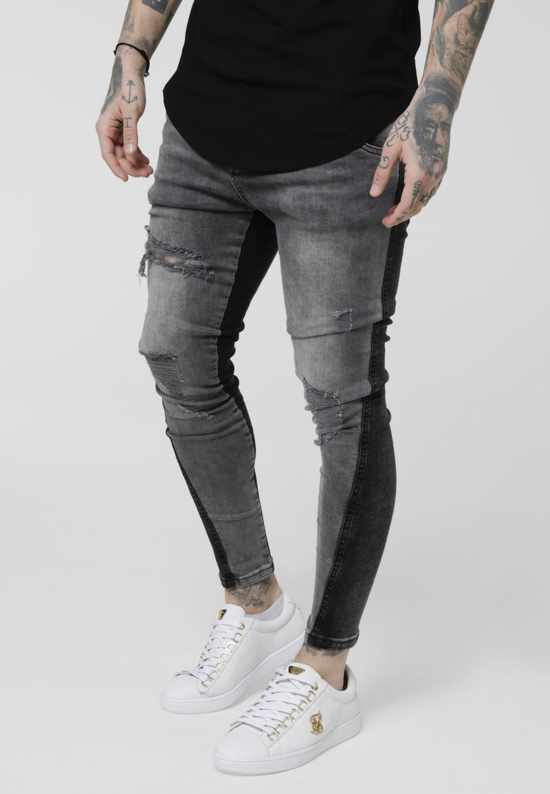 SIKSILK - TWISTED HEM  - Slim fit jeans - washed black/grey