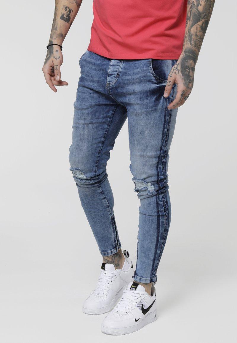 SIKSILK - LOW RISE CARTEL - Skinny džíny - midstone blue