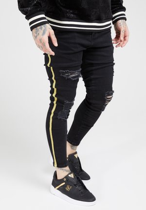 DISTRESSED TAPED - Skinny-Farkut - washed black