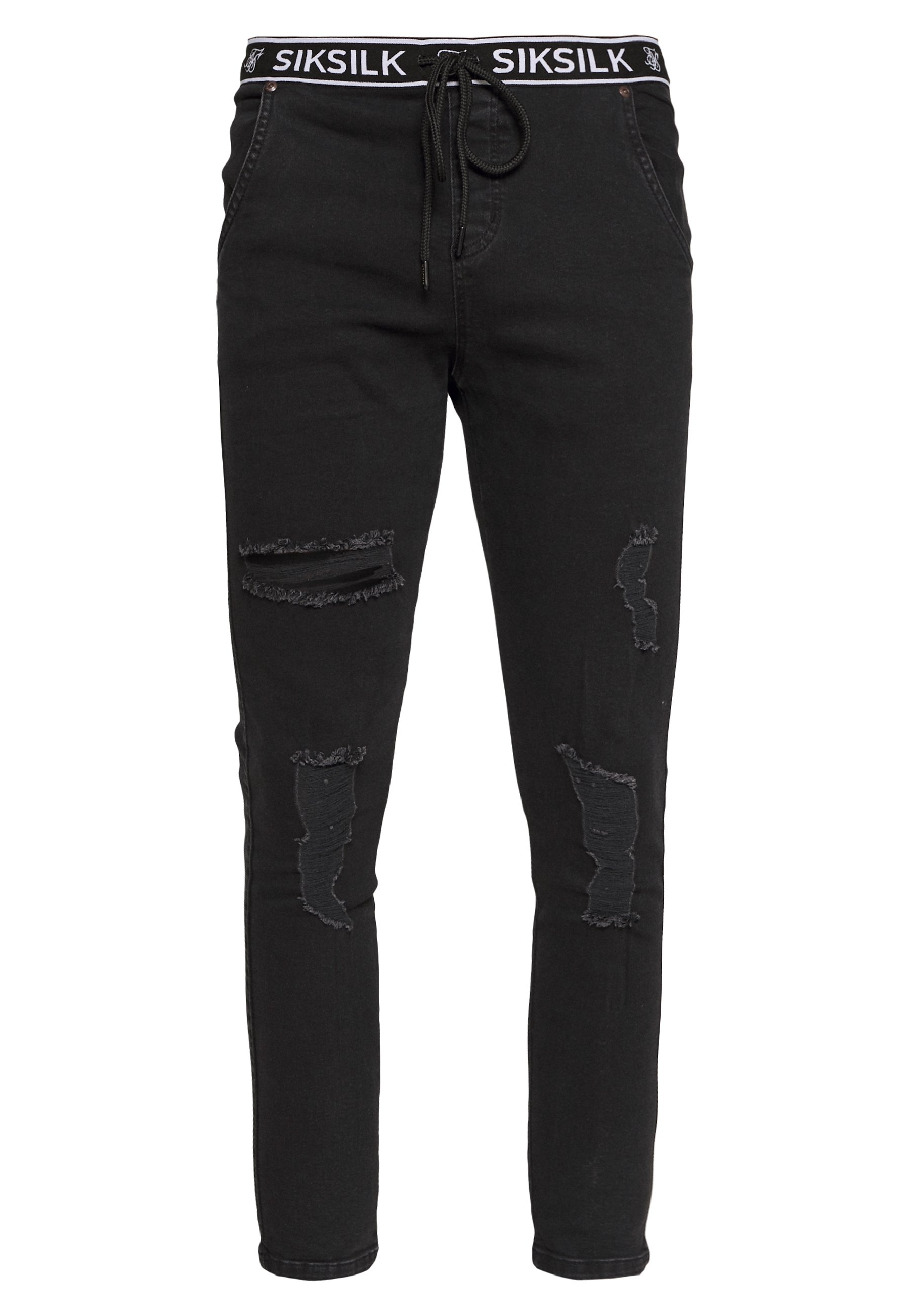 SIKSILK ELASTICATED WAIST DISTRESSED - Jeansy Skinny Fit - black