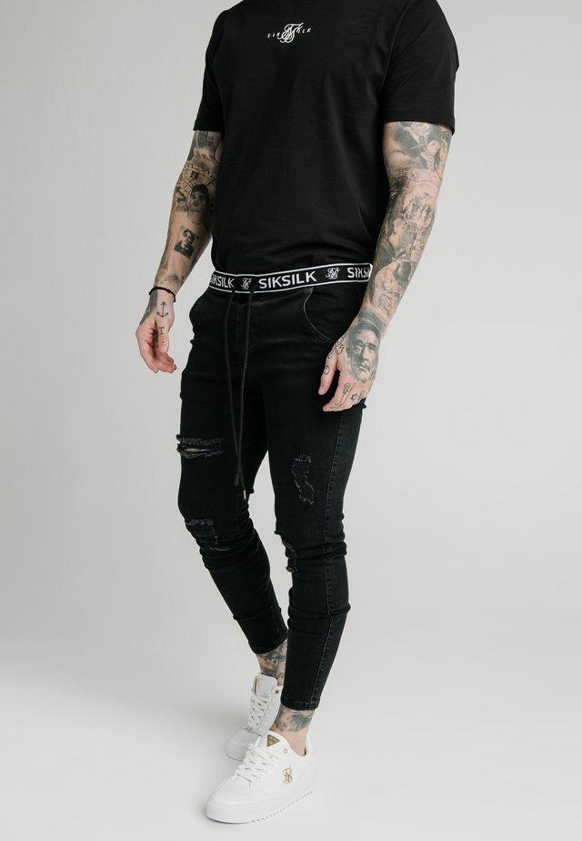 ELASTICATED WAIST DISTRESSED - Skinny džíny - black