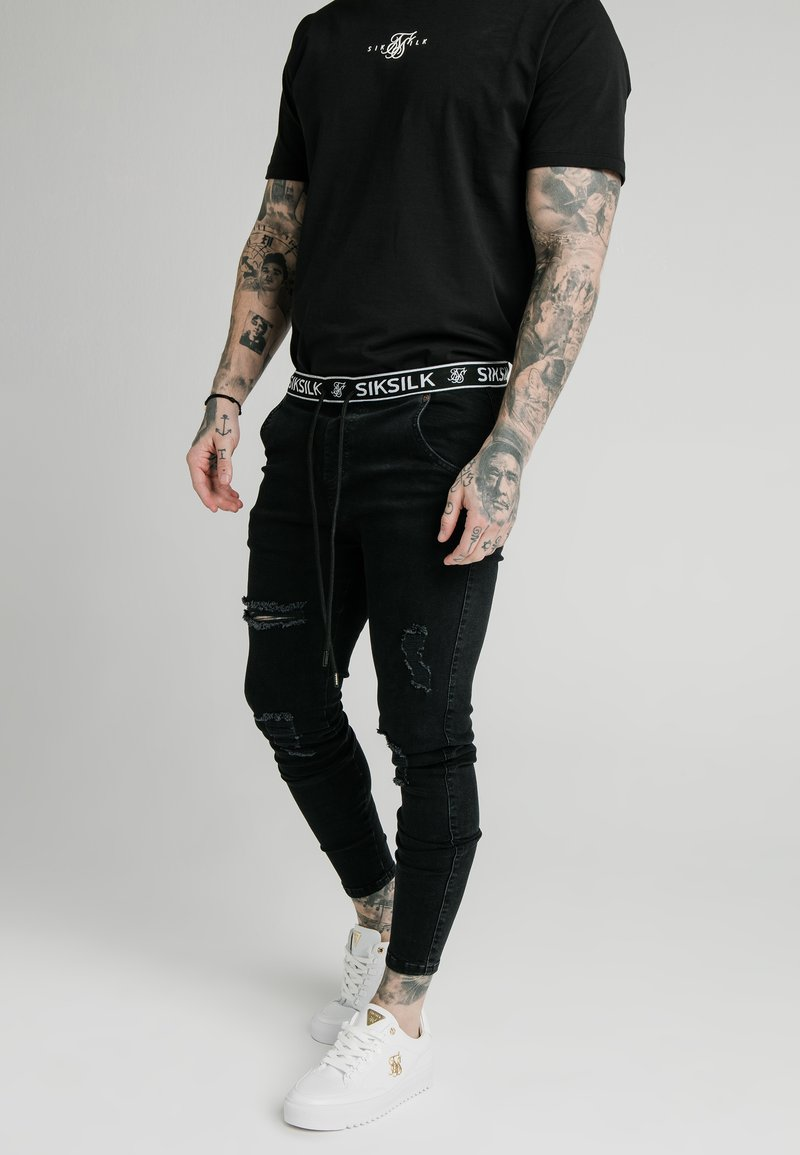 SIKSILK - ELASTICATED WAIST DISTRESSED - Jeans Skinny Fit - black