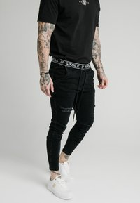 SIKSILK - ELASTICATED WAIST DISTRESSED - Jeans Skinny Fit - black - 4