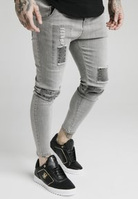 SIKSILK - PATCHWORK - Jeans Skinny Fit - washed grey