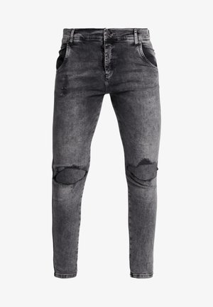 DISTRESSED SLICE KNEE - Skinny-Farkut - dark grey