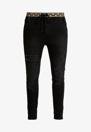 ELASTICATED WAIST DISTRESSED - Vaqueros pitillo - black