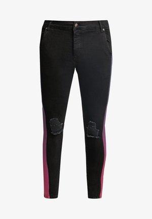 LOW RISE FADE STRIPE BURST KNEE - Jeans Skinny Fit - black
