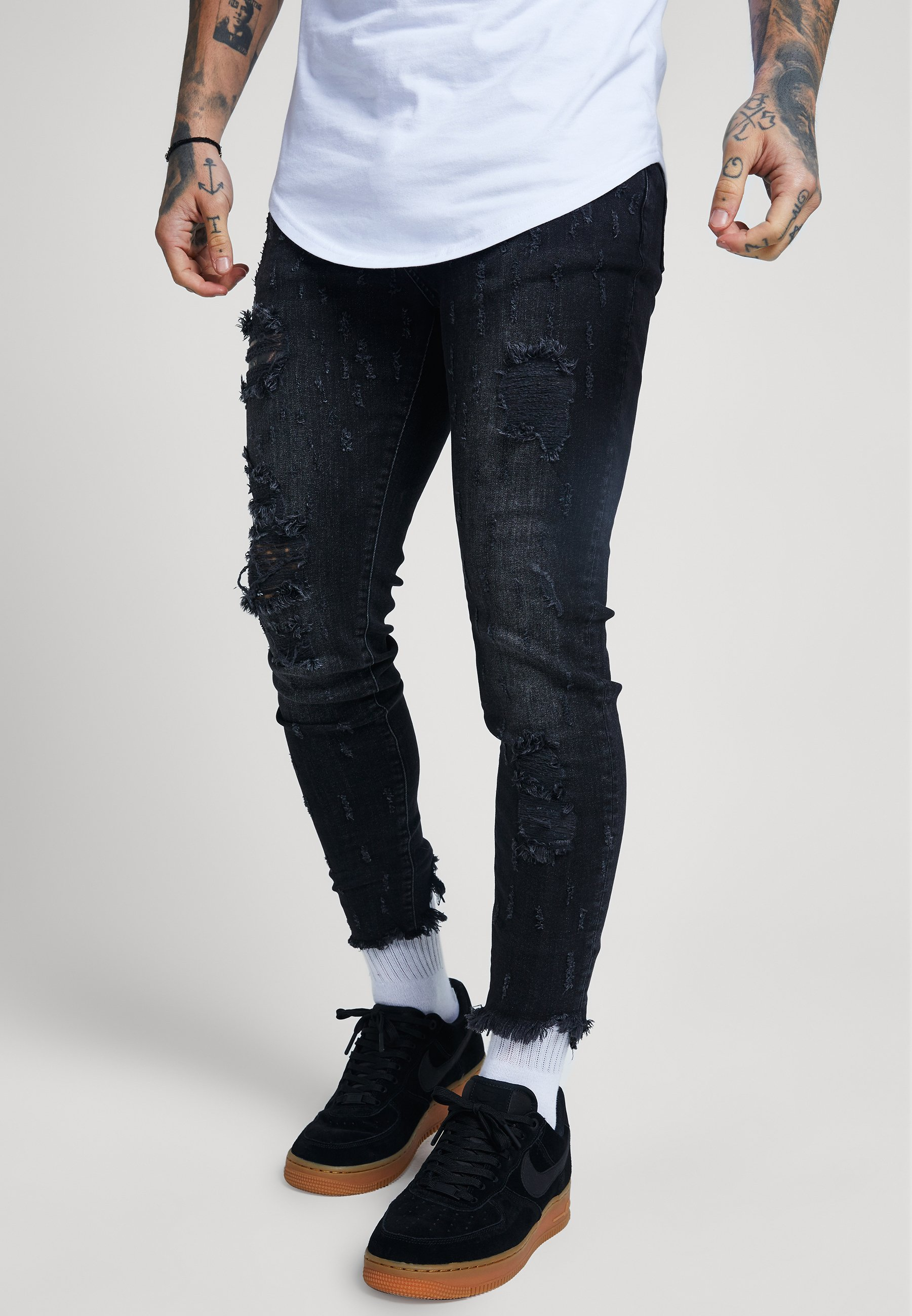 SIKSILK RAW CUFF CROPPED - Jeans Skinny Fit - black