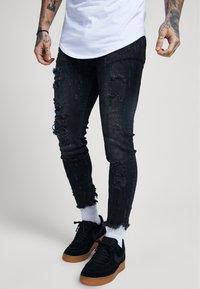 SIKSILK - RAW CUFF CROPPED - Jeans Skinny Fit - black - 1