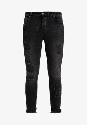 RAW CUFF CROPPED - Skinny džíny - black