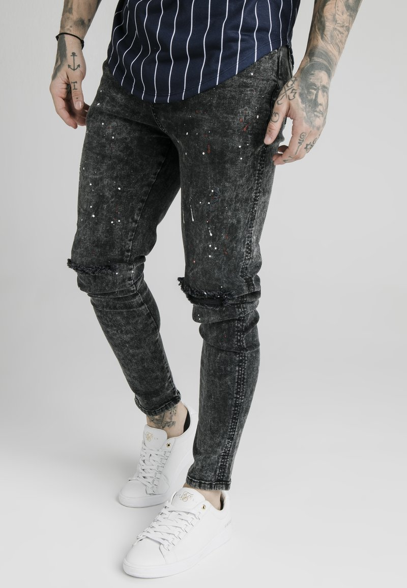 SIKSILK - BUST KNEE RIOT SKINNY JEANS - Jeans Skinny Fit - washed black