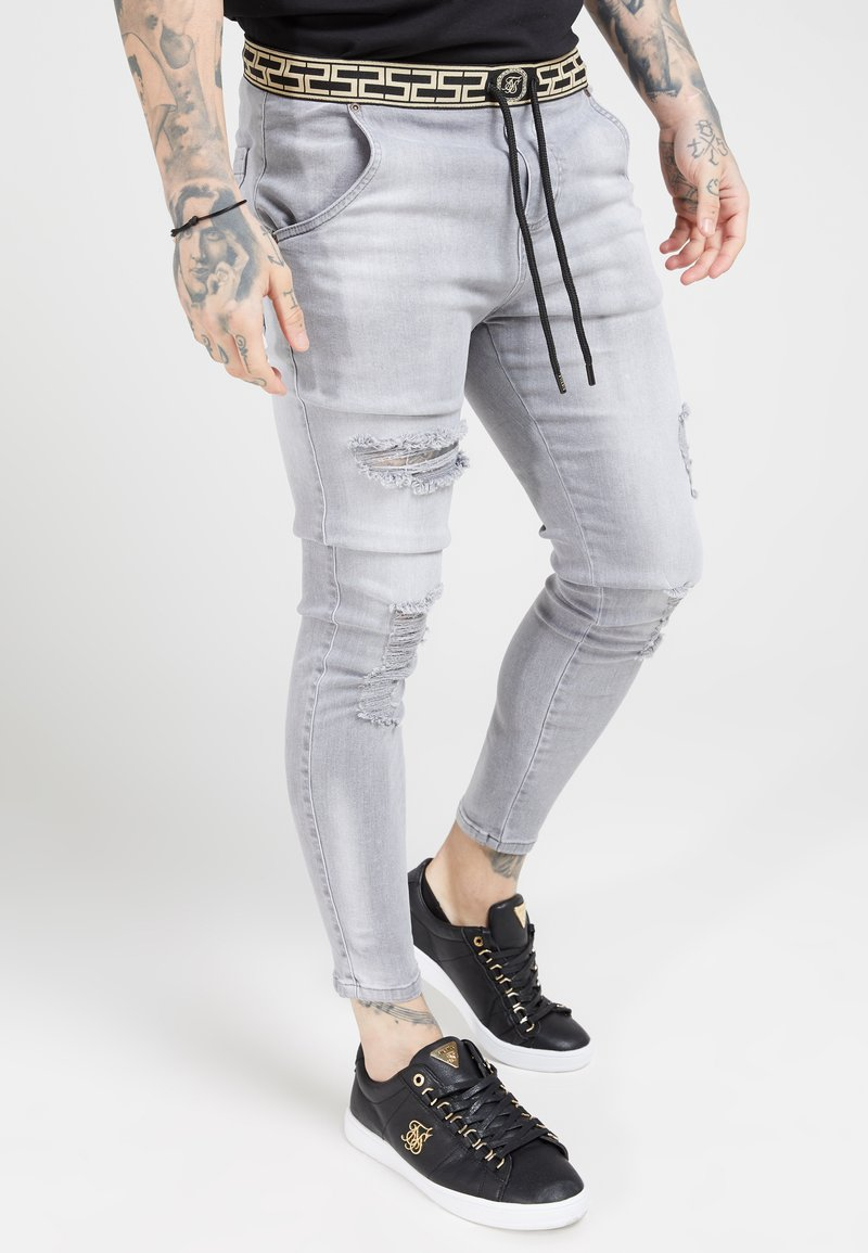 SIKSILK - ELASTICATED WAIST DISTRESSED - Jeans Tapered Fit - grey