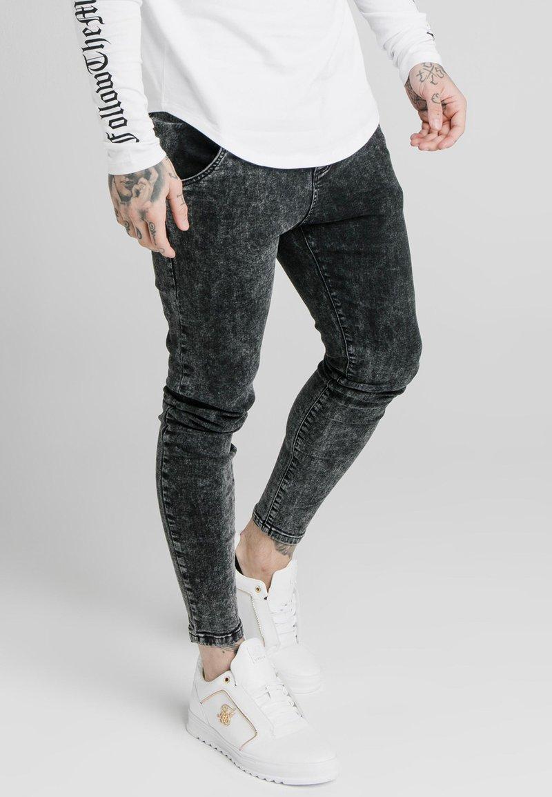 SIKSILK - acid wash - Jean slim - black