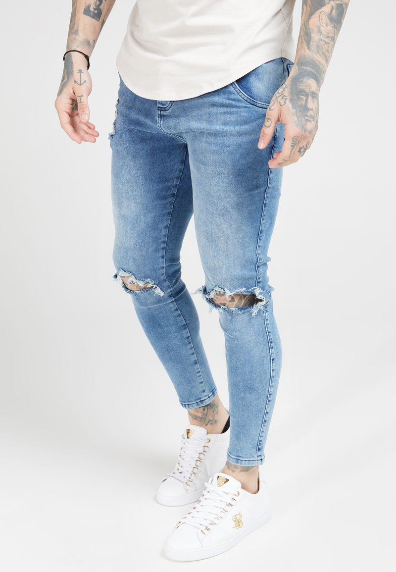 SIKSILK - DISTRESSED SLICE KNEE - Jeans Skinny - midstone blue