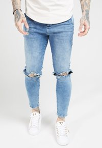 SIKSILK - DISTRESSED SLICE KNEE - Jeans Skinny - midstone blue - 4