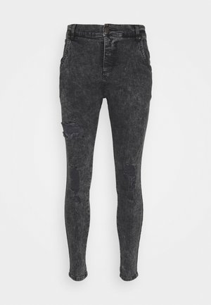 SKINNY FIT ACID WASH WITH DISTRESSING - Jeansy Skinny Fit - black