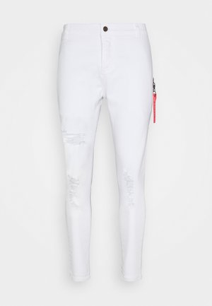 DISTRESSED  WITH ZIP DETAIL - Jeansy Skinny Fit - white