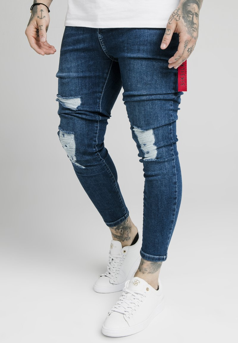 SIKSILK - DISTRESSED  WITH ZIP DETAIL - Jeans Skinny Fit - light blue