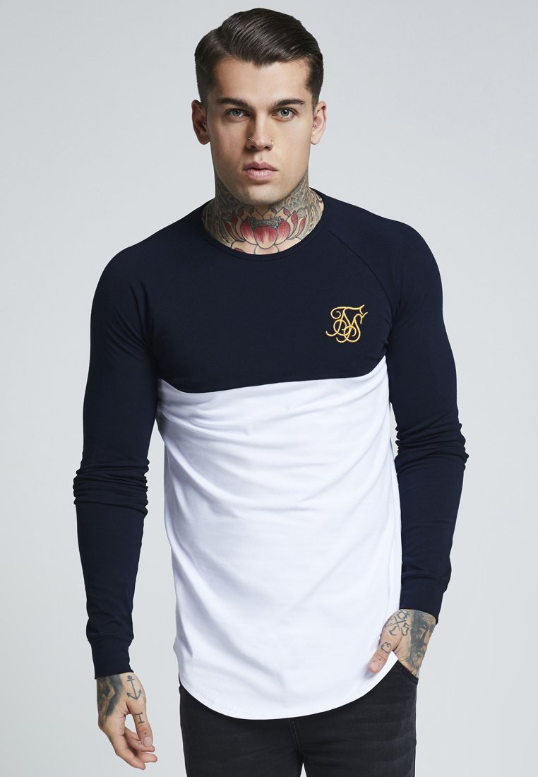 SIKSILK - RAGLAN BLOCK - Camiseta de manga larga - navy/white/gold