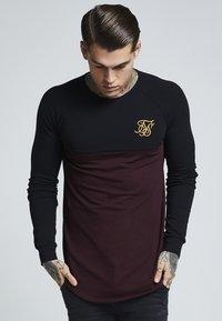 SIKSILK - RAGLAN BLOCK - Bluzka z długim rękawem - black/burgundy - 0