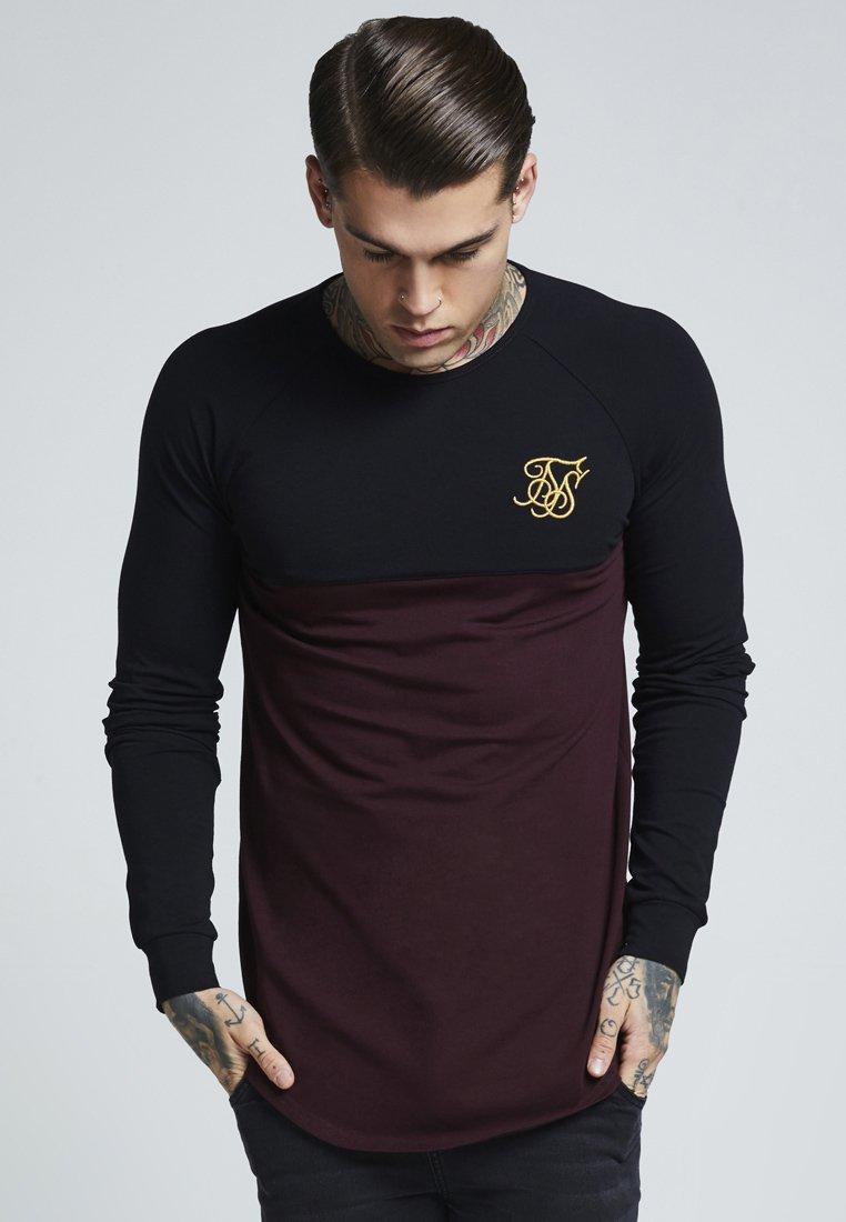 SIKSILK - RAGLAN BLOCK - Camiseta de manga larga - black/burgundy