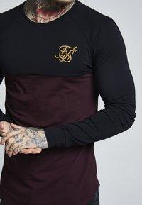 SIKSILK - RAGLAN BLOCK - Bluzka z długim rękawem - black/burgundy - 5