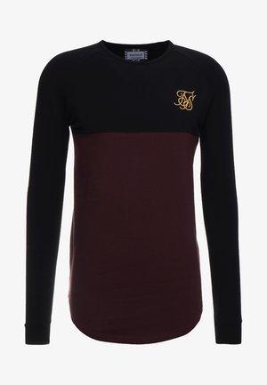 RAGLAN BLOCK - T-shirt à manches longues - black/burgundy
