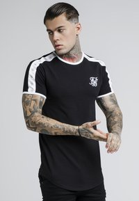 SIKSILK - TAPE SHOULDER GYM TEE - T-shirt imprimé - black - 0