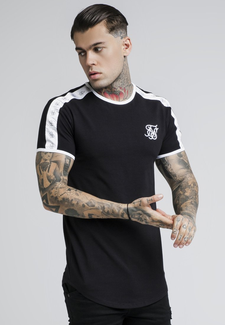 SIKSILK - TAPE SHOULDER GYM TEE - T-shirt imprimé - black