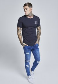 SIKSILK - SHORT SLEEVE GYM TEE - Camiseta básica - navy - 1