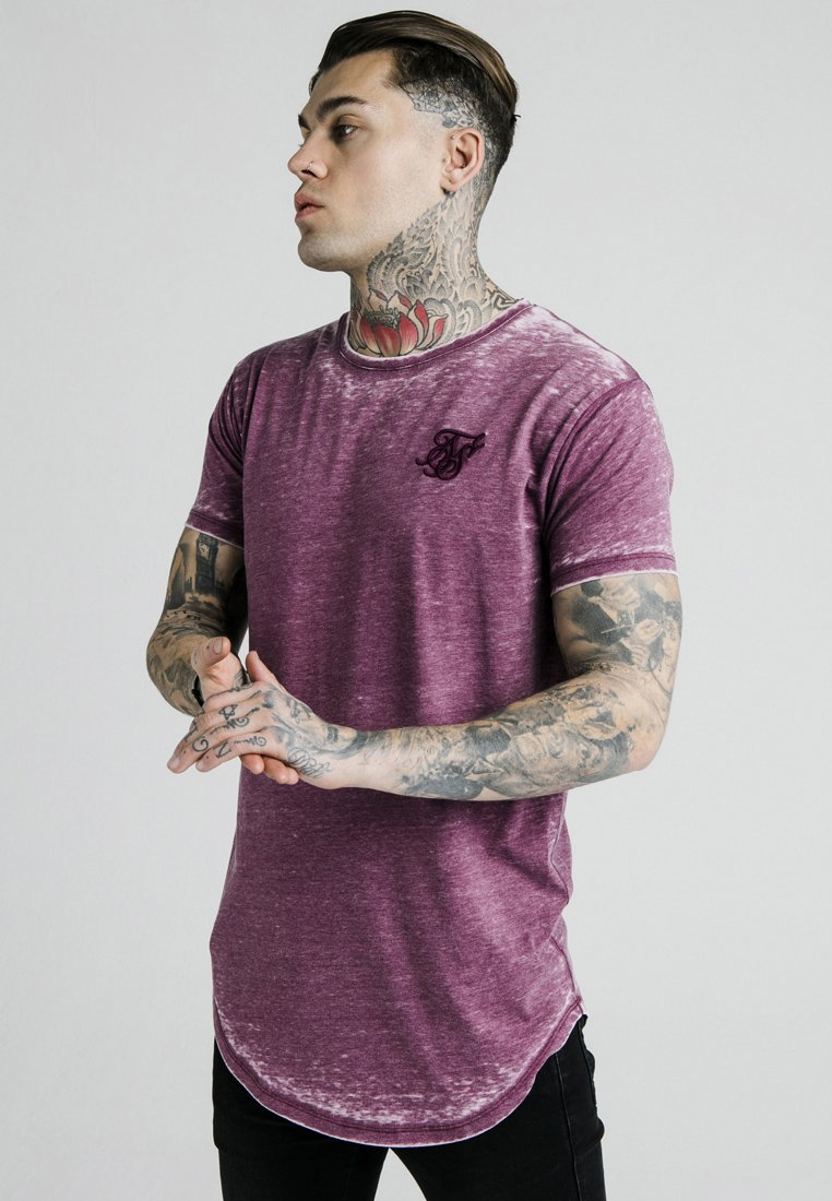 SIKSILK - BURNOUT ROLL SLEEVE TEE - T-shirt print - burg