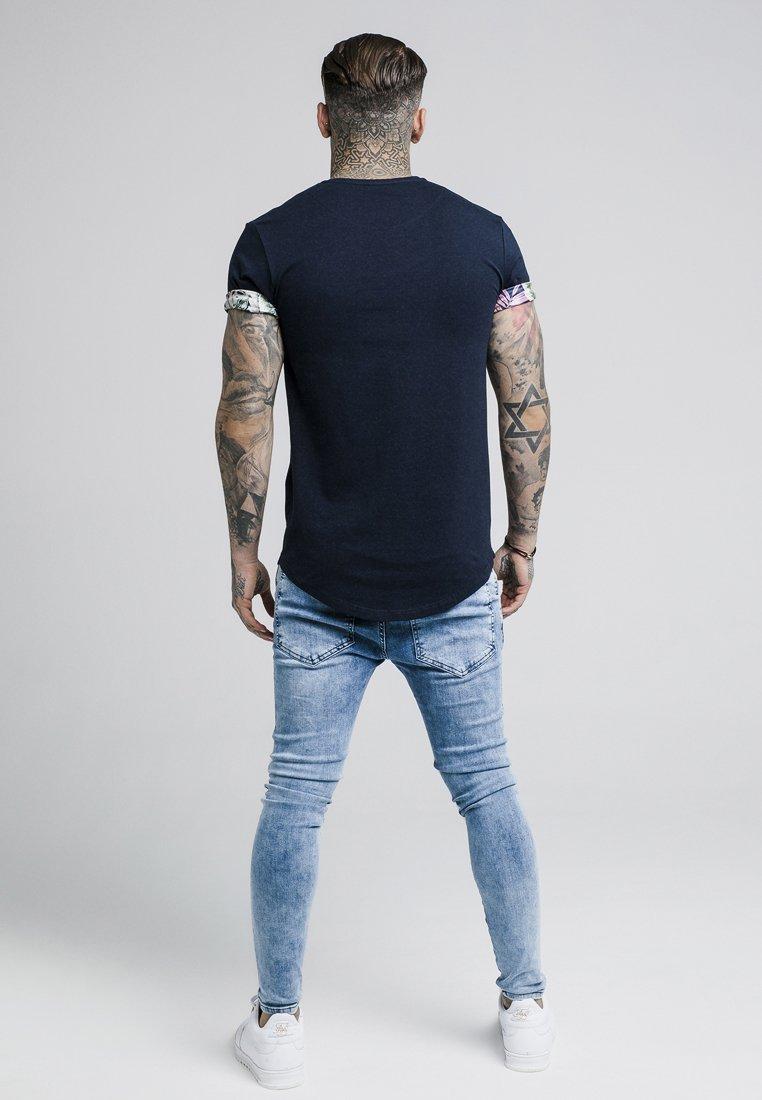 SIKSILK VINE ROLLED SLEEVE SCOOP TEE - T-shirt basique navy