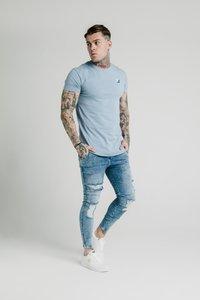 SIKSILK - CONTRAST LOGO GYM TEE - T-shirt basic - faded denim - 1