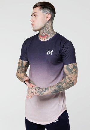 CURVED HEM FADE TEE - T-shirt med print - dark navy/pink