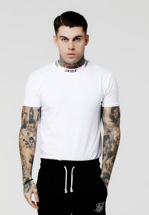 HIGH COLLAR LOGO TEE - Camiseta estampada - white