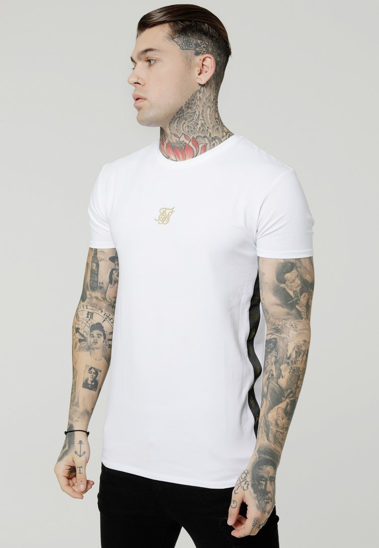 SIKSILK - SIDE TAPED TEE - Jednoduché triko - white/gold