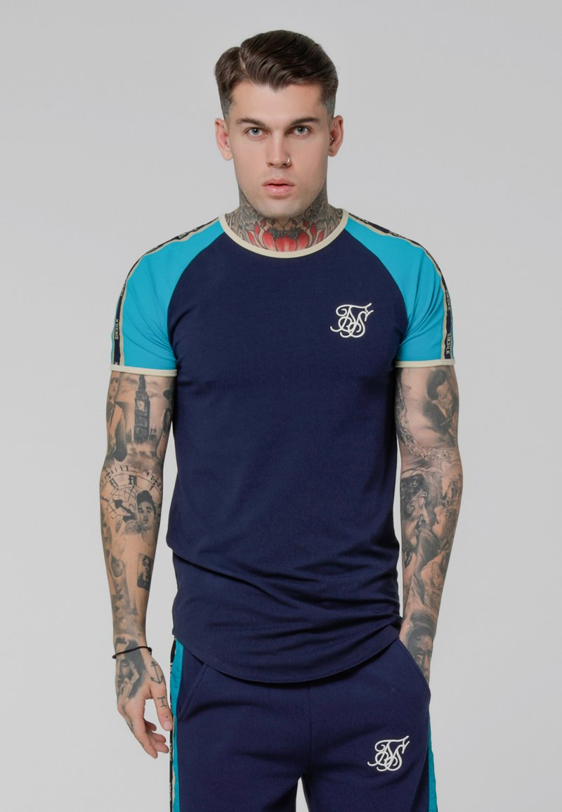 SIKSILK - CONTRAST TAPE GYM TEE - Camiseta estampada - teal/navy