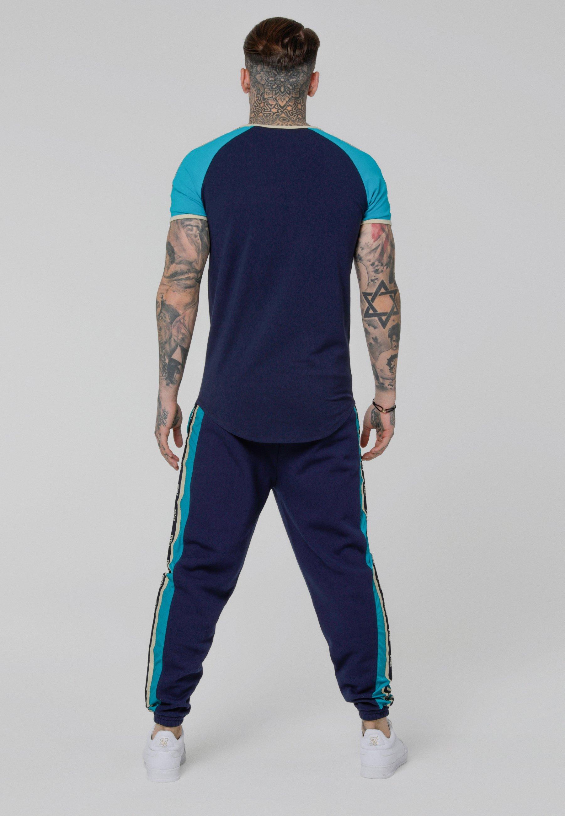 shirt Siksilk Gym Contrast Teal TeeT navy Tape Imprimé 354AjqRL