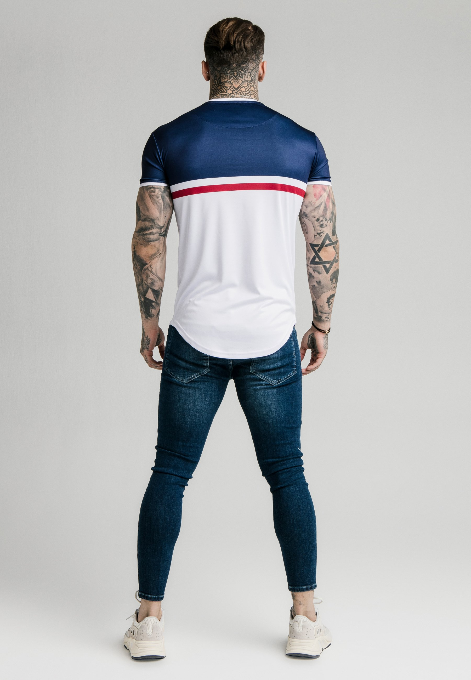 shirt Siksilk Sports TeeT red Navy Curved Hem Imprimé white clFK1JT3