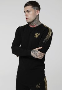 SIKSILK - FOIL FADE PANEL TEE - Camiseta de manga larga - black/gold - 0
