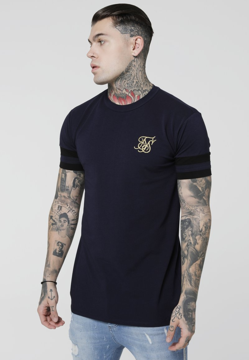 SIKSILK - COLLAR BOX TEE - Camiseta estampada - navy