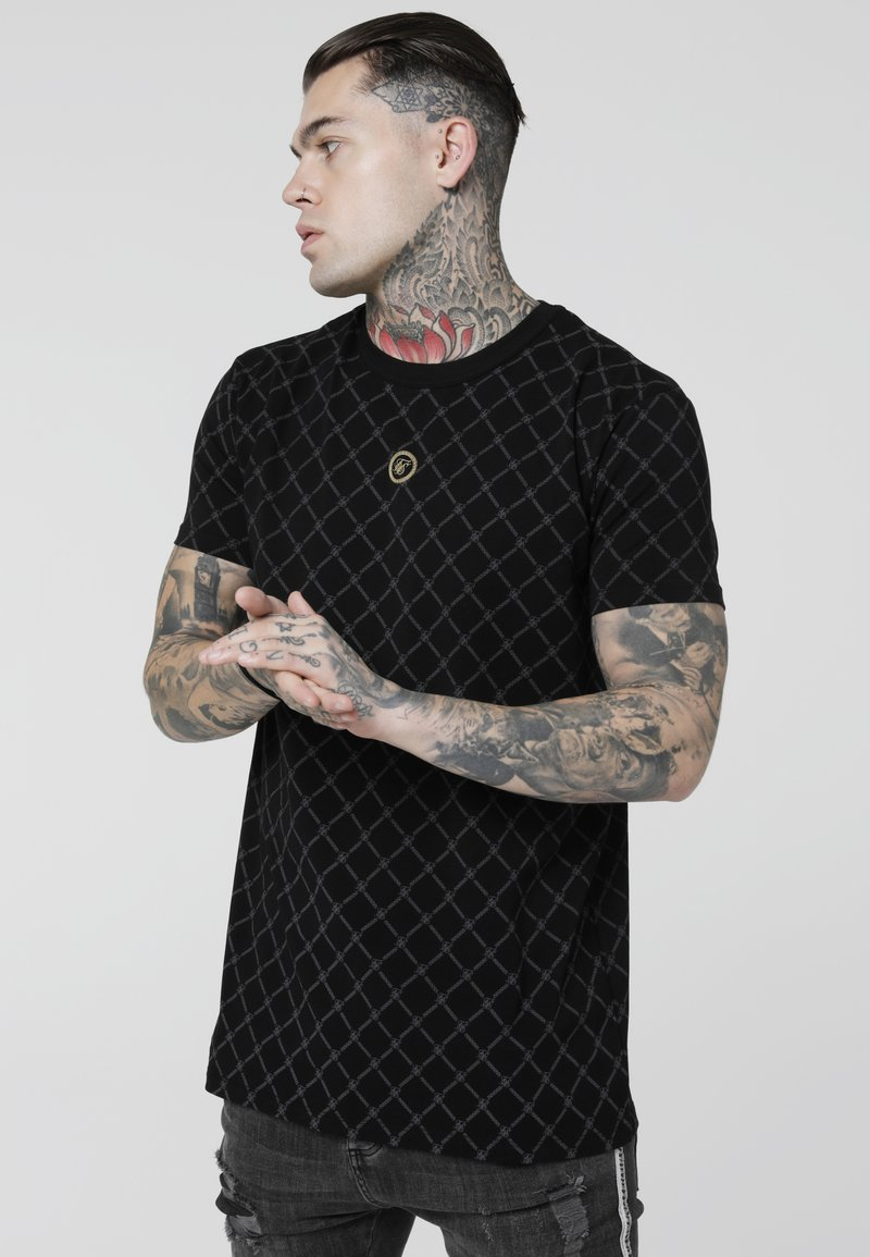 SIKSILK - COLLAR TEE - Camiseta estampada - black