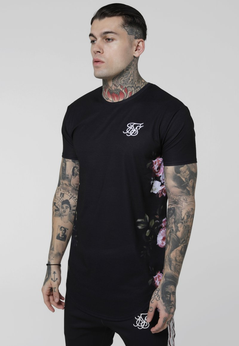 SIKSILK - CURVED HEM OIL PAINT TEE - Print T-shirt - black