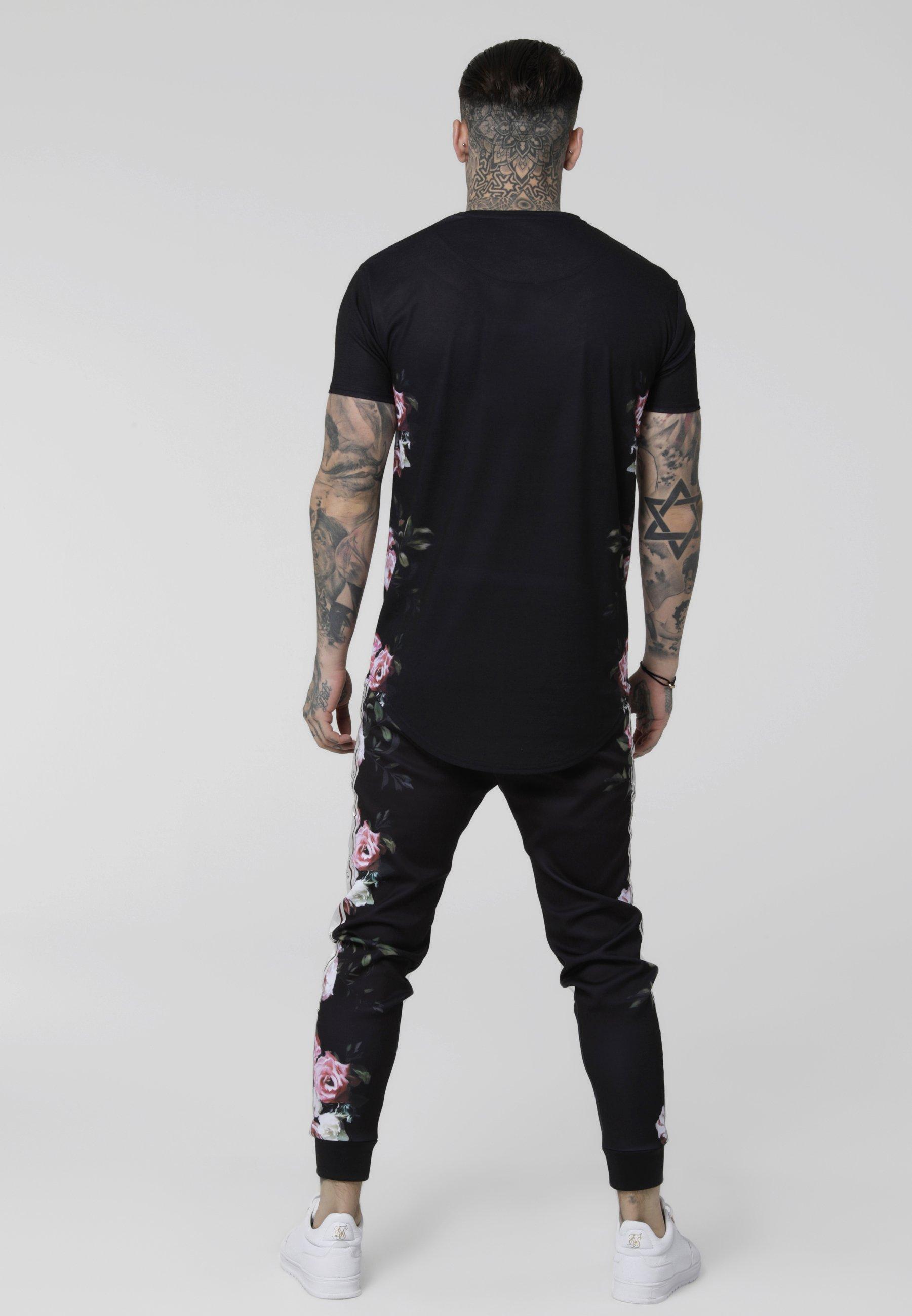 Curved Black Oil TeeT Imprimé Paint shirt Hem Siksilk PuOkiZX